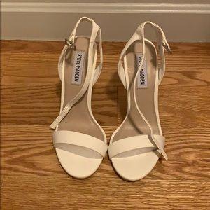 Steve Madden white leather heels